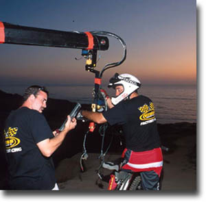 behind the scenes of On any given weekend - Bill Roberts and Ray Pacheco setting up Camera Jib at Sunset Cliffs - photo courtesy of Dave Brown