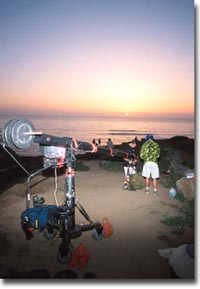 behind the scenes of On any given weekend - Bill Roberts and Sean Speed at Sunset Cliffs - Photo courtesy of Dave Brown